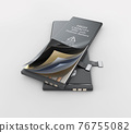 Li-ion cell battery structure,clipping path included, 3d Illustration 76755082