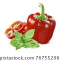Sweet red pepper and green basil isolated on white background. 76755206