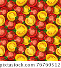 Red and yellow slice tomatoes seamless pattern isolated on dark background 76760512