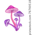 Purple mushroom bunch isolated on white background. Neon glowing toadstool 76760518