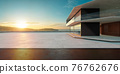 Empty cement floor with steel and modern building exterior. 3d 76762676