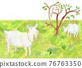 水彩畫 動物 雪羊 76763350
