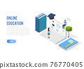 Online education concept banner with characters. Can use for web banner, infographics, hero images. Flat isometric vector illustration isolated on white background. 76770405