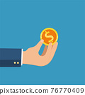 Business hand holding gold coin and Pound icon vector, business concept. 76770409
