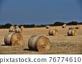 Straw bales on farmland with blue sky 76774610