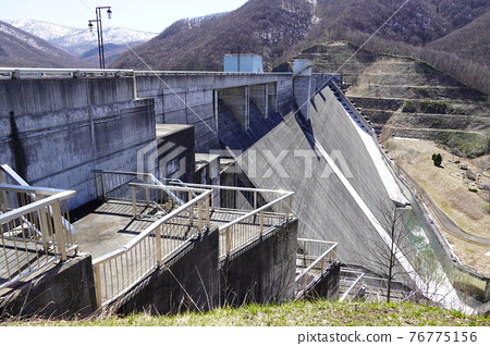 dam, concrete gravity dam, hokkaido 76775156
