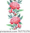 Peonies seamless floral border. Oriental style vintage flowers 76775376