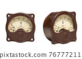 Old measuring device amperemeter on a white background in two angles 76777211