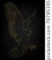 Golden border tattoo , Hawk flying over black background 76785395