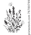 Monochrome Composition with  Butterflies and Wildflowers 76789799