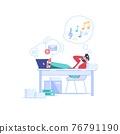 Flat cartoon employee characters procrastination at work vector illustration concept 76791190
