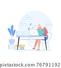 Flat cartoon employee characters procrastination at work vector illustration concept 76791192