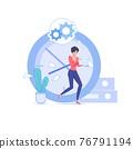 Flat cartoon office employee character,work stress deadline vector illustration concept 76791194