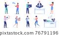 Flat cartoon office employee characters set,workflow scenes vector illustration concept 76791196