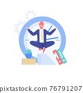 Flat cartoon office character successful happy employee,vector illustration concept 76791207