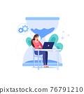 Flat cartoon office employee character,work stress deadline vector illustration concept 76791210
