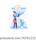 Flat cartoon business character,new idea metaphor lamp symbol vector illustration concept 76791212