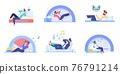 Flat cartoon employee characters procrastination set,at work vector illustration concept 76791214