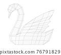 contour polygonal swan, simple polygonal animal, geometric style swan, 3d render 76791829