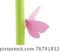 Low poly polygonal butterfly on green stem close-up, isolated on white background, 3d render 76791832