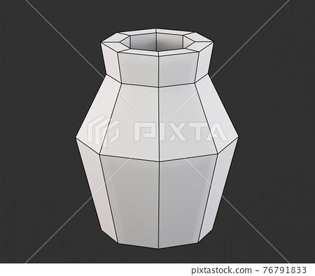Low poly vase, paper sculpture, low poly papecraft, paper home decor, 3d render 76791833