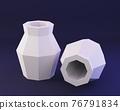 Low poly vase, paper sculpture, low poly papecraft, paper home decor, 3d render 76791834
