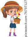 Girl holding flower in pot cartoon character isolated on white background 76797127