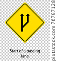 Yellow traffic warning sign on transparent background 76797128