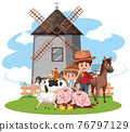 Scene with farmer and many animals on the farm 76797129