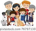 Happy big family with many members and their pet dog on white background 76797130