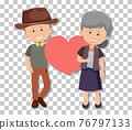 Old couple in standing pose isolated on transparent background 76797133