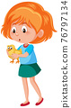 Girl holding cute animal cartoon character isolated on white background 76797134