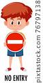 Boy holding traffic sign isolated on white background 76797138