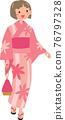 A young woman in a yukata 76797328