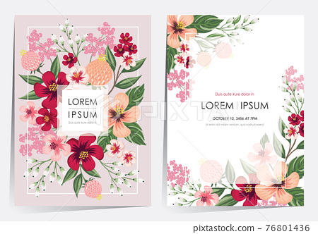 Vector illustration of a floral frame in spring for Wedding, anniversary, birthday and party. Design for banner, poster, card, invitation and scrapbook  76801436