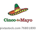 National holiday of Mexico with mexican sombrero 76801890