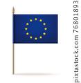 European Union flag on wooden pole. Vector icon 76801893