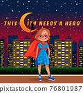 Little cute girl dressed as a superhero 76801987