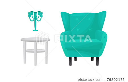 Room Interior Design Elements with Armchair and Table Vector Set 76802175