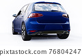 Blue small family car hatchback on white background. 3d rendering. 76804247