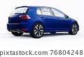Blue small family car hatchback on white background. 3d rendering. 76804248