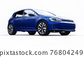 Blue small family car hatchback on white background. 3d rendering. 76804249
