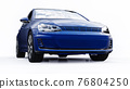 Blue small family car hatchback on white background. 3d rendering. 76804250
