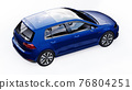 Blue small family car hatchback on white background. 3d rendering. 76804251