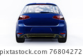Blue small family car hatchback on white background. 3d rendering. 76804272