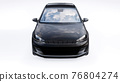 Black small family car hatchback on white background. 3d rendering. 76804274