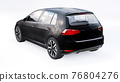Black small family car hatchback on white background. 3d rendering. 76804276
