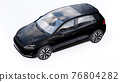 Black small family car hatchback on white background. 3d rendering. 76804282