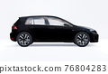 Black small family car hatchback on white background. 3d rendering. 76804283