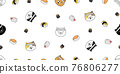 cat seamless pattern kitten chef sushi ramen head calico japan food vector pet scarf isolated cartoon animal tile wallpaper repeat background illustration doodle design 76806277
